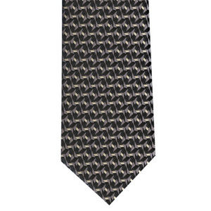 Geometric Black/White Woven Tie